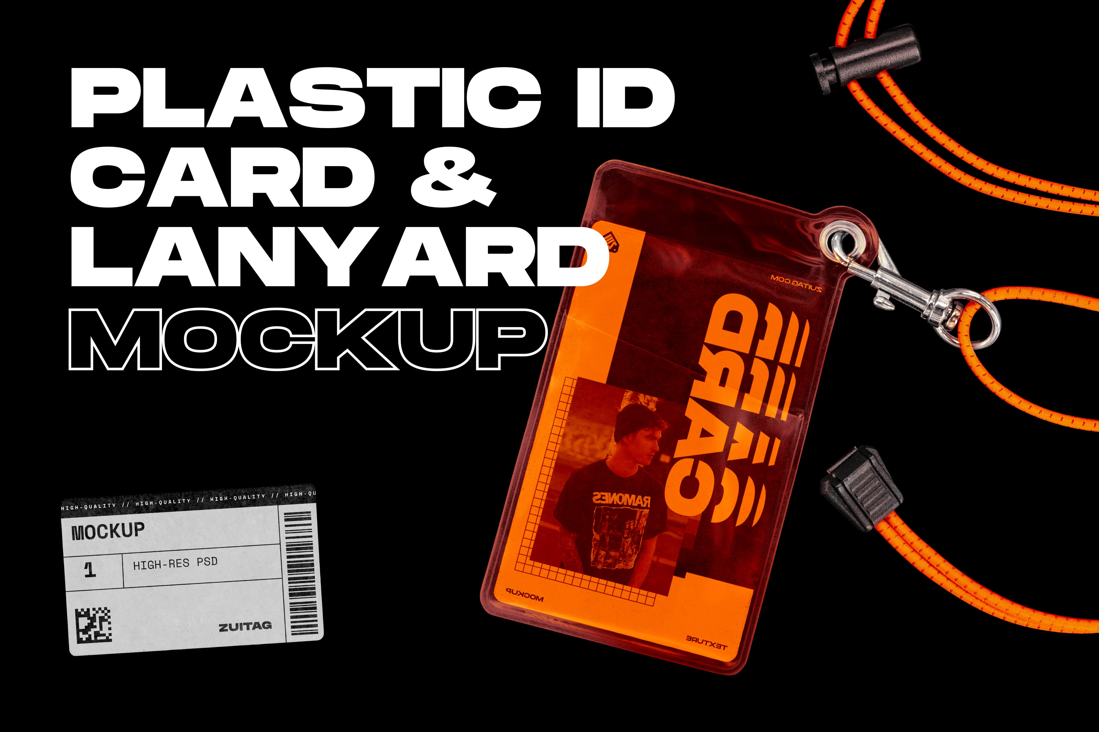Plastic ID Card and Lanyard Mockup - Cover