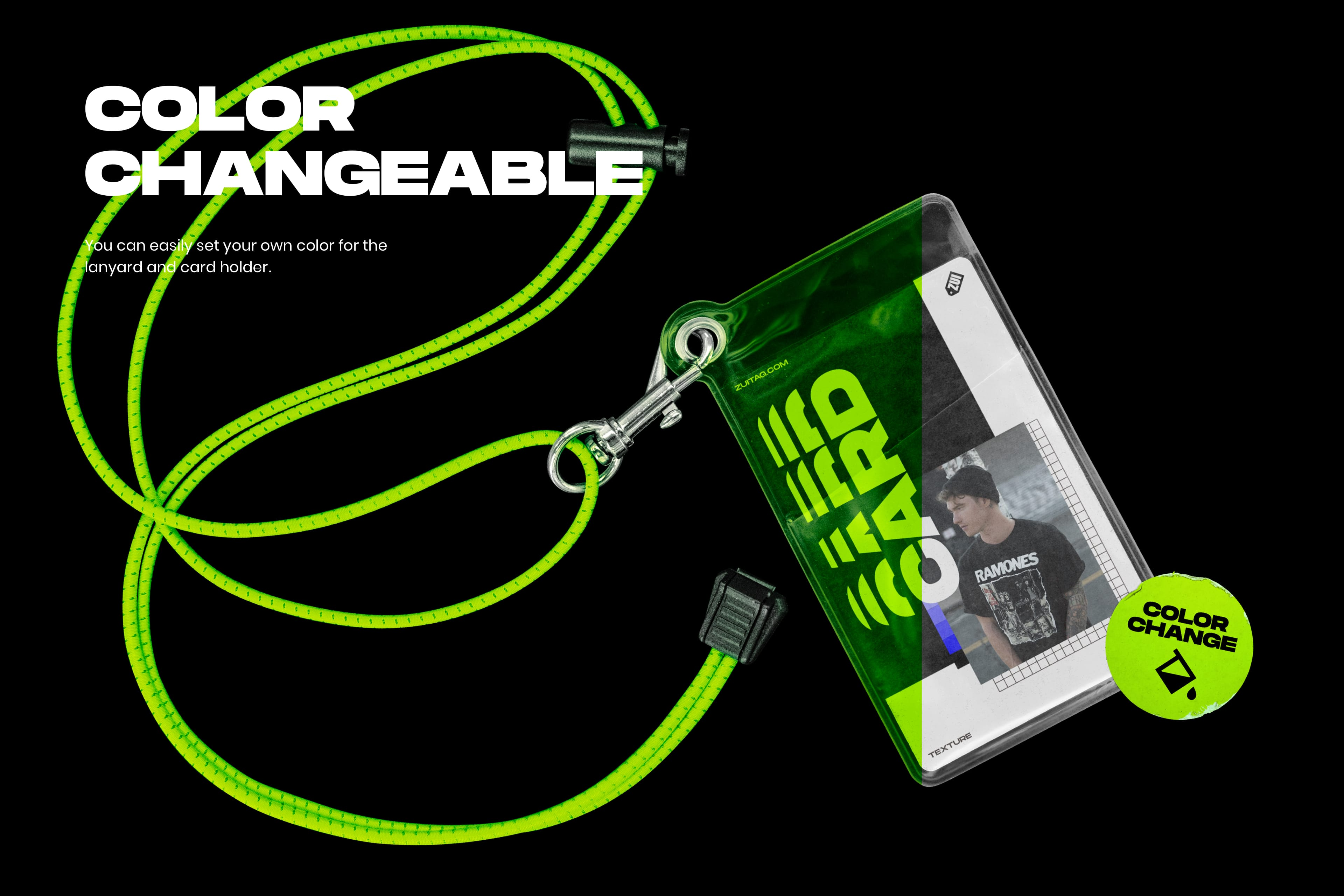 Plastic ID Card and Lanyard Mockup - Color Changeable