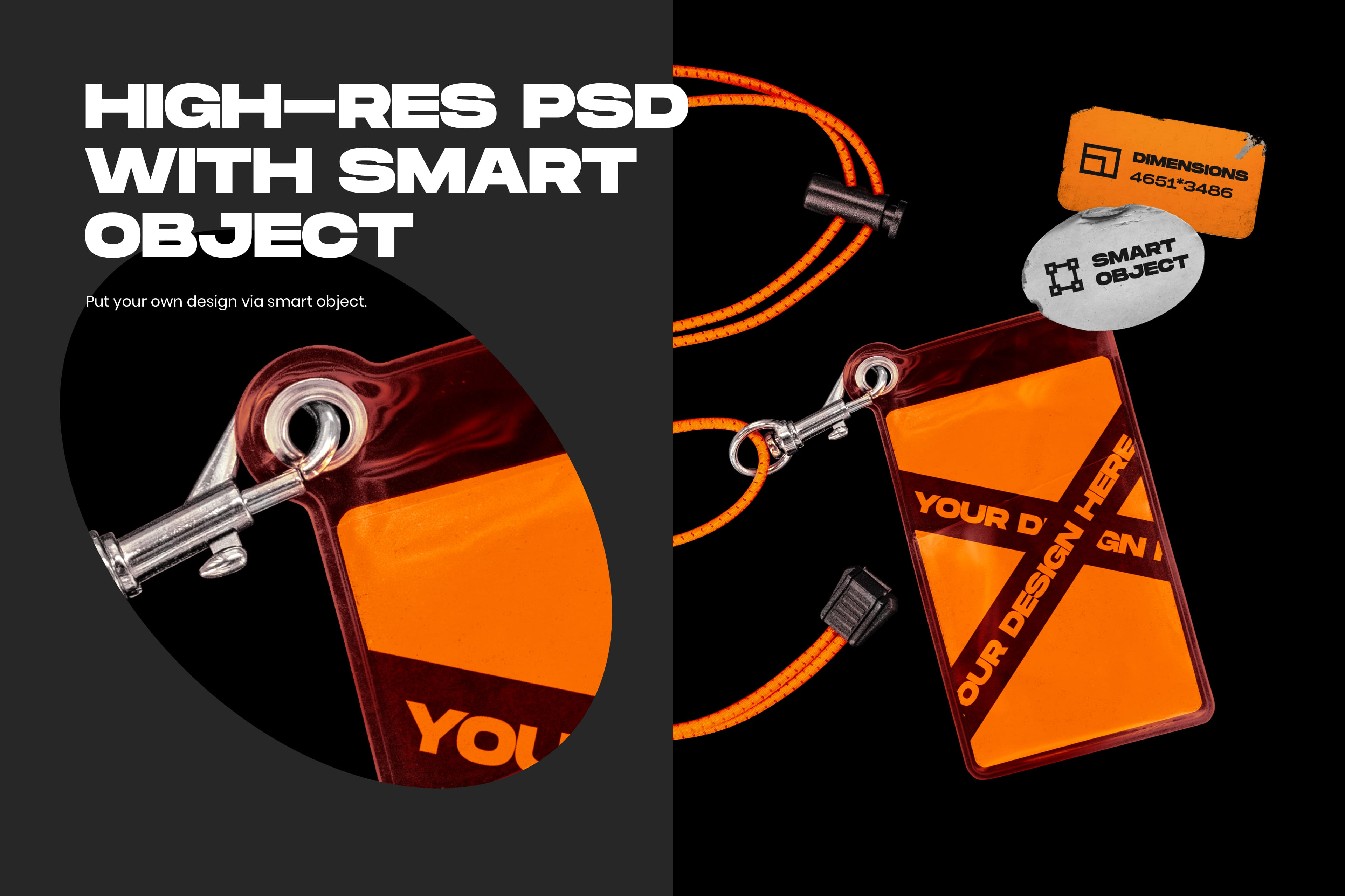 Plastic ID Card and Lanyard Mockup - High-res PSD with Smart Object
