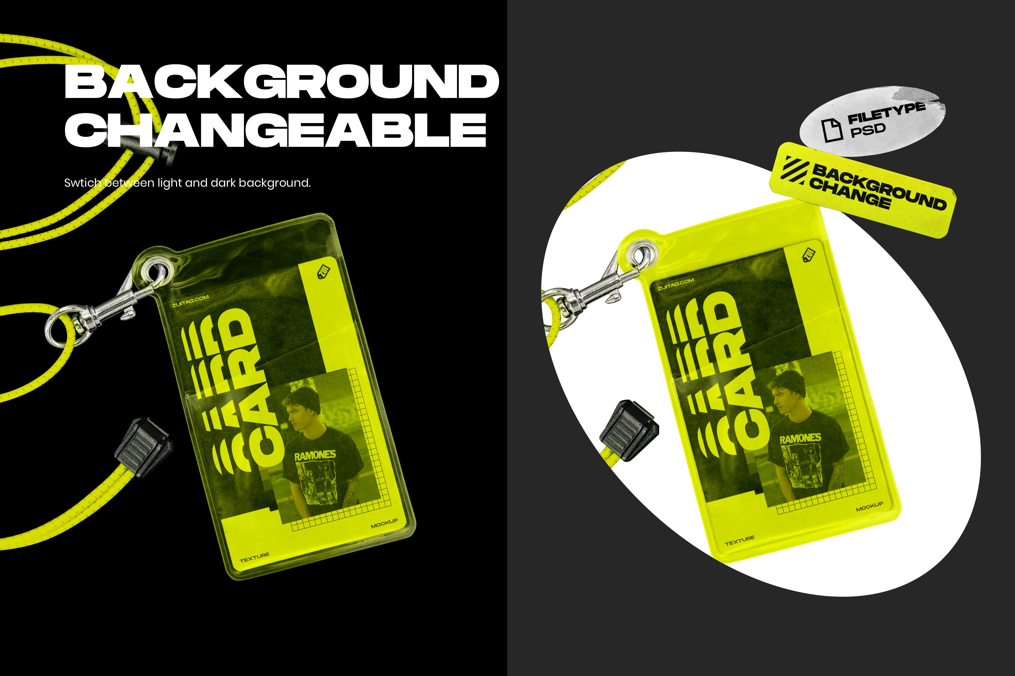 Plastic ID Card and Lanyard Mockup - Background Changeable