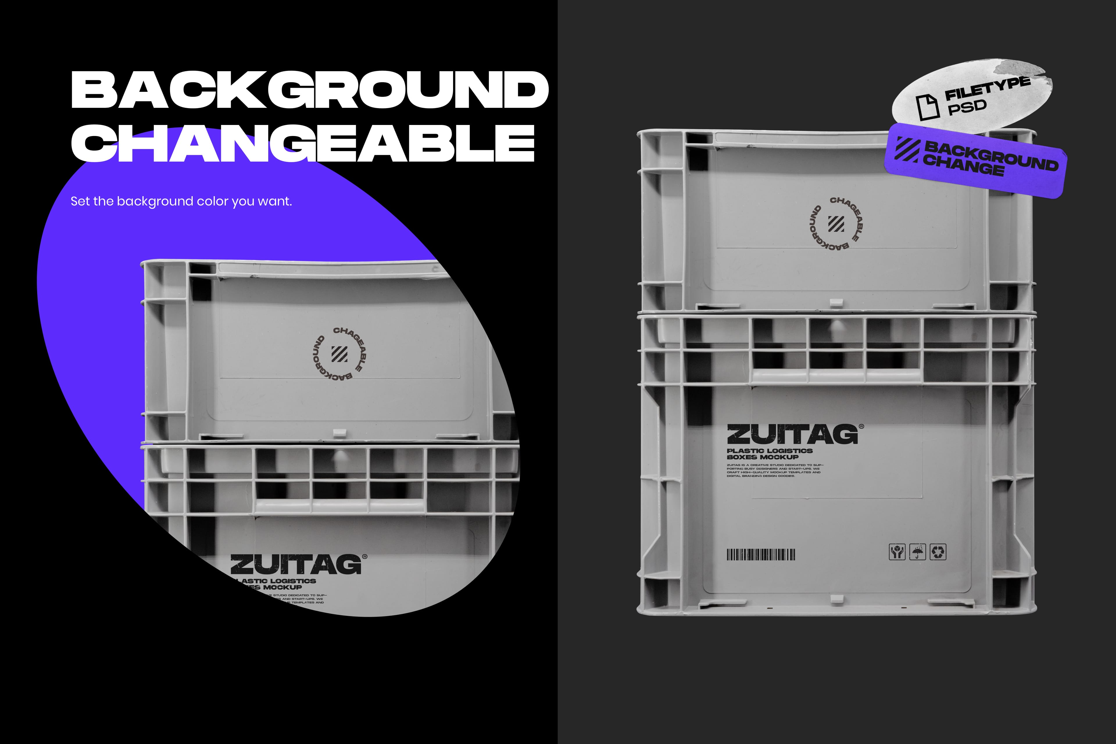 Plastic Logistics Boxes Mockup - Background Changeable