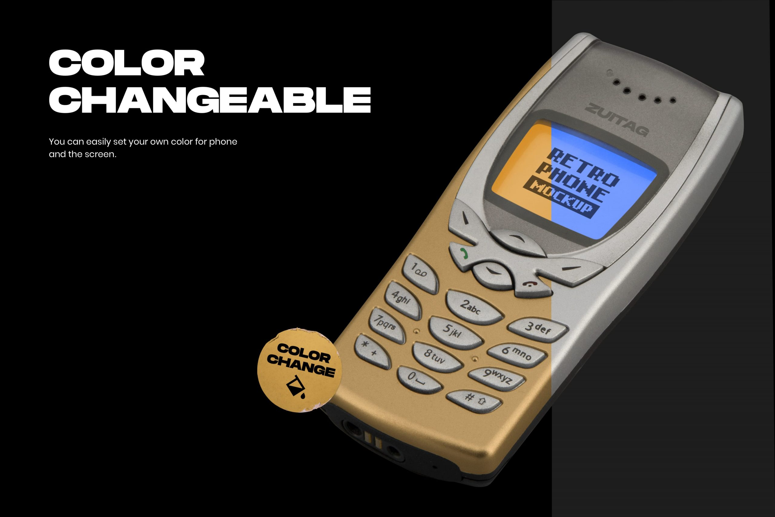 Retro Phone Mockup - Color Changeable