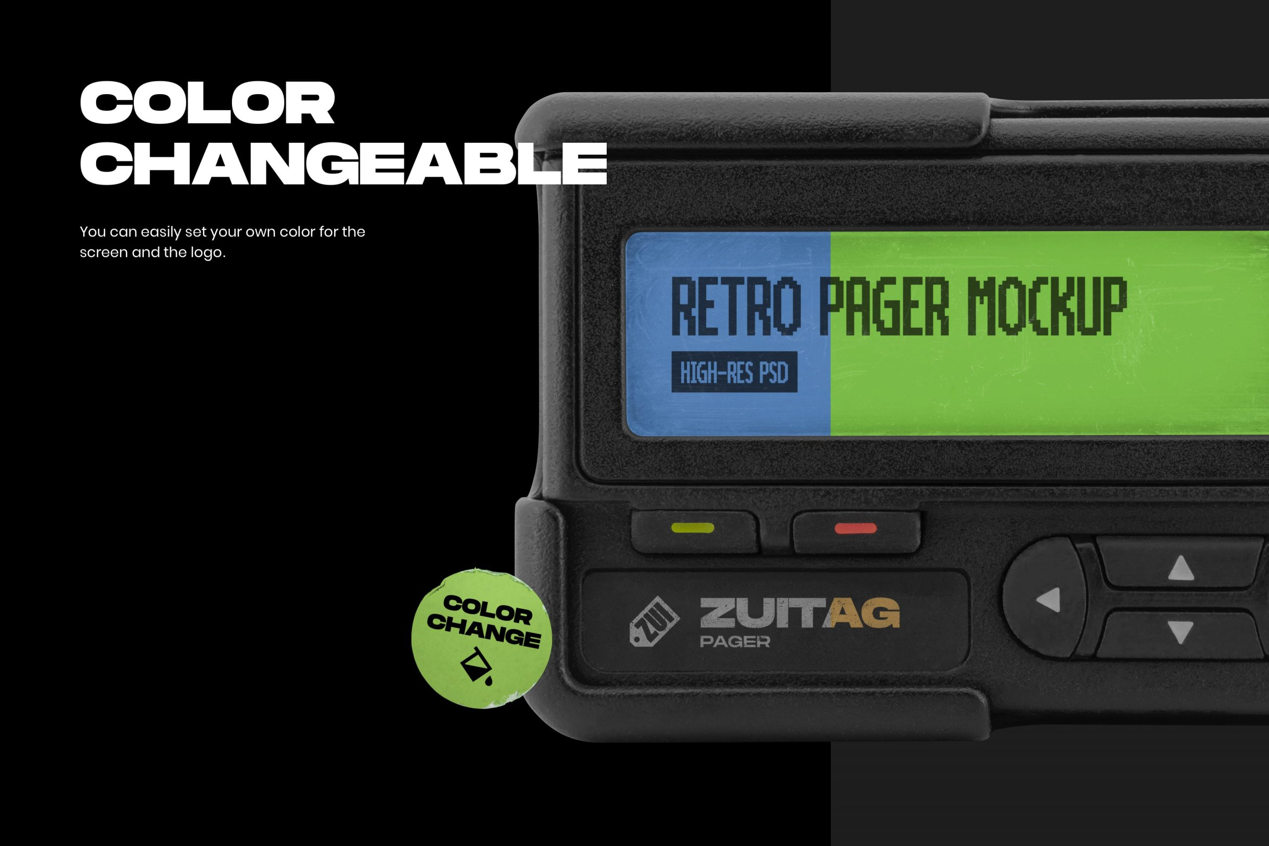 Retro Pager Mockup - Color Changeable