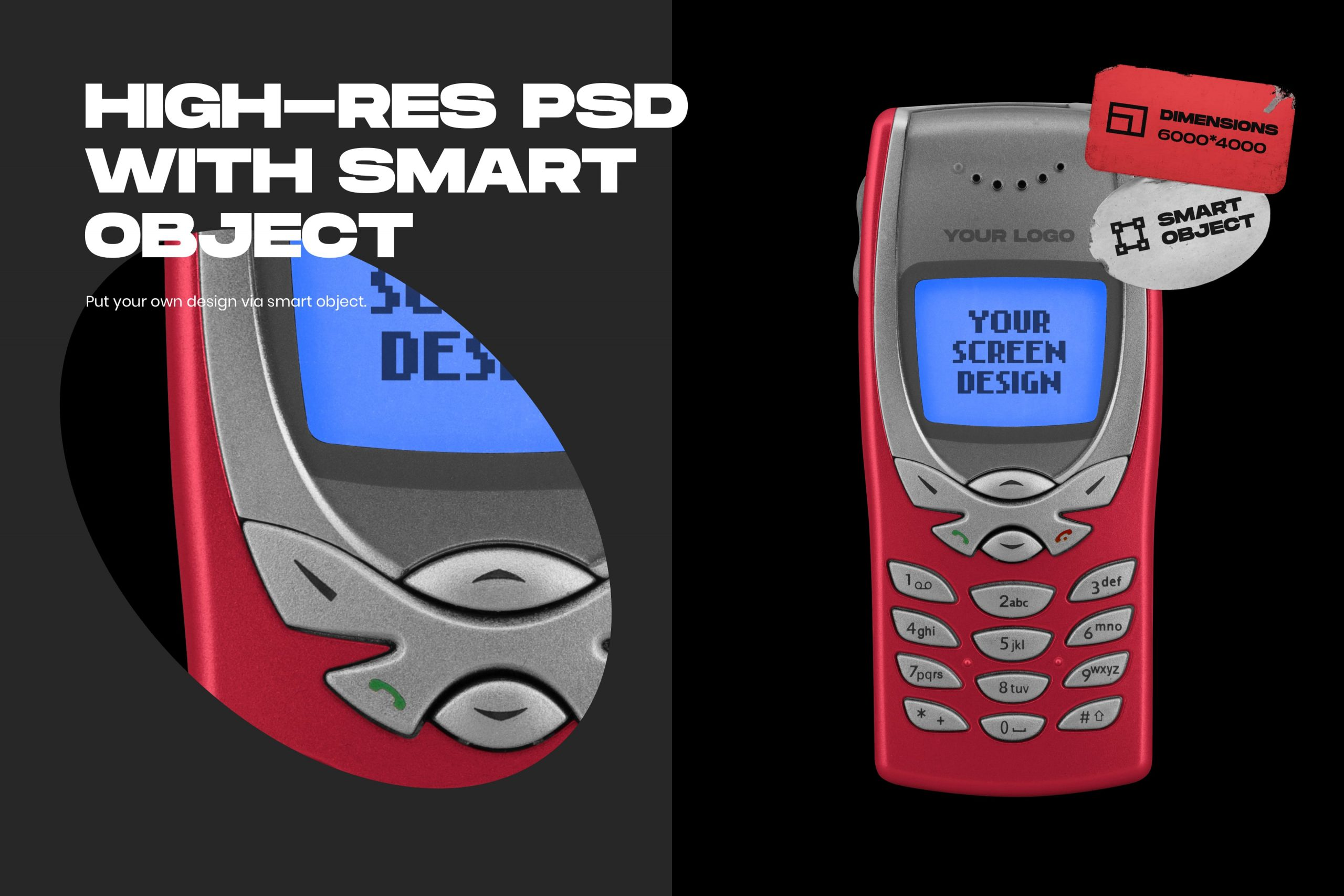 Retro Phone Mockup - High-res PSD with Smart Object