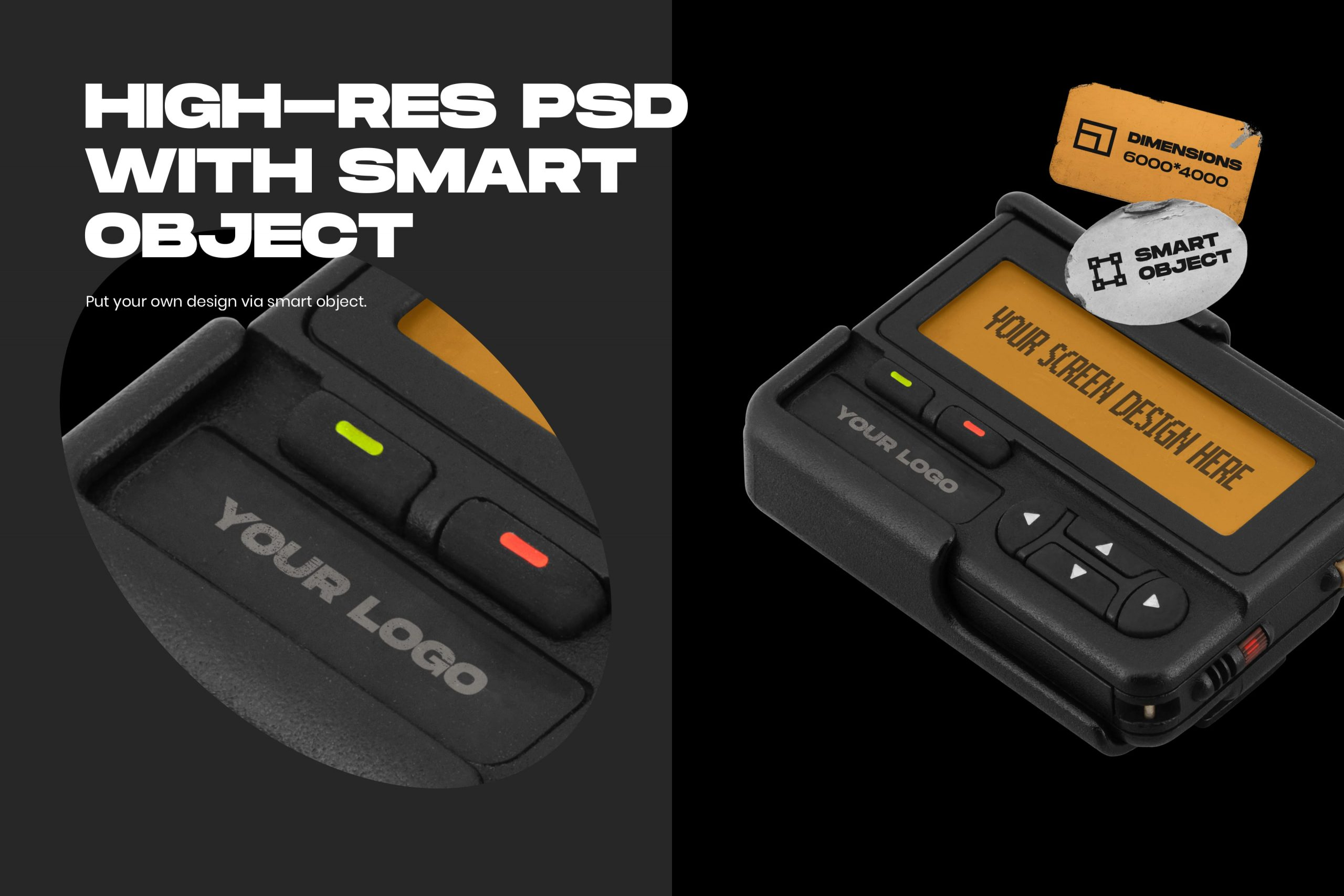Retro Pager Mockup - High-res PSD with Smart Object