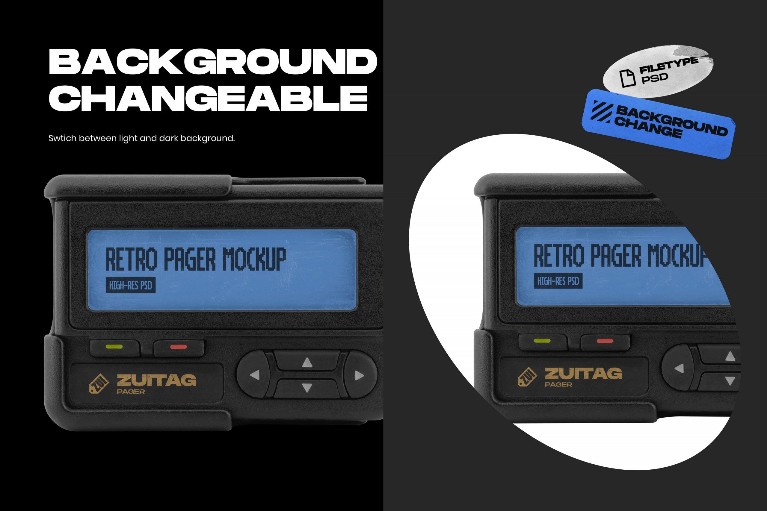 Retro Pager Mockup - Background Changeable