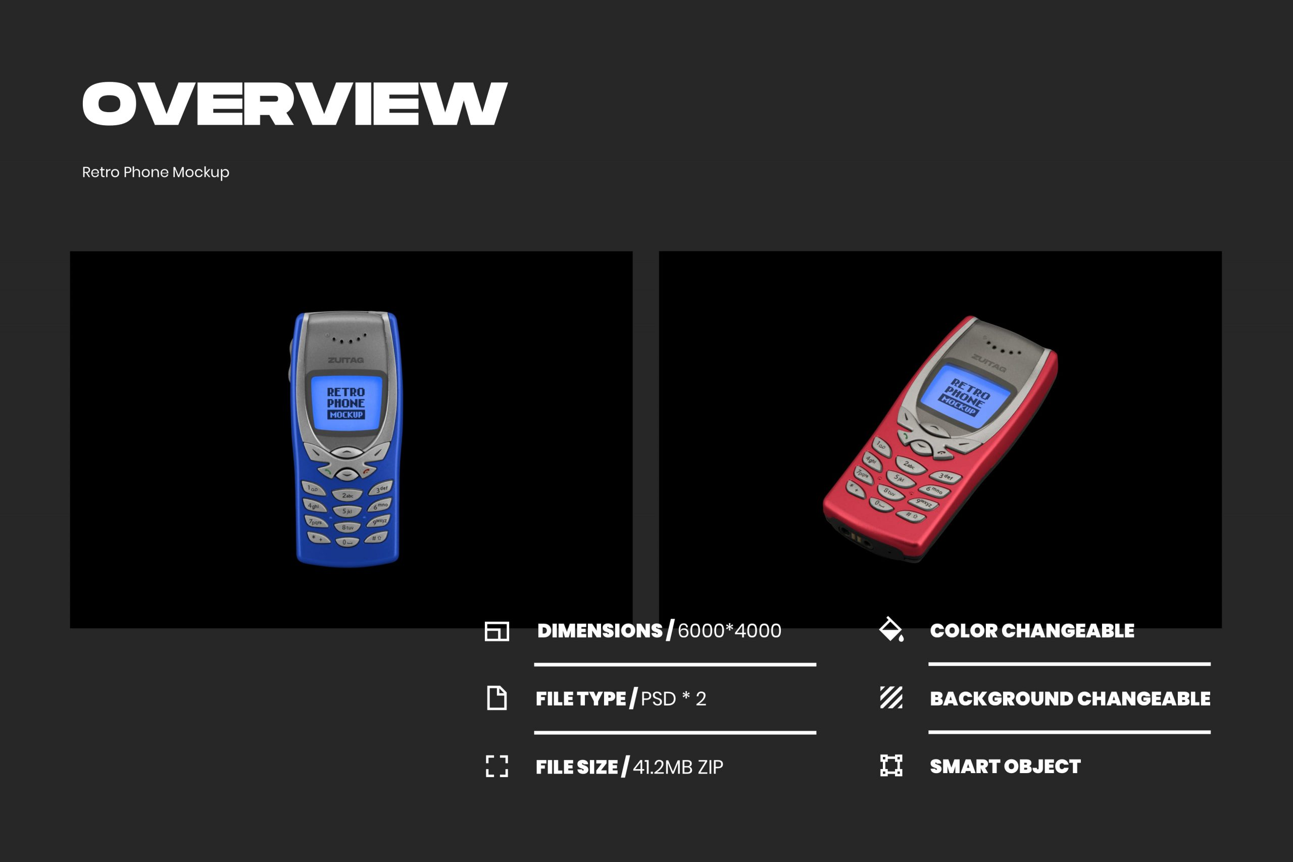Retro Phone Mockup - Overview